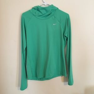 Nike green/blue running dry fit shirt with hood